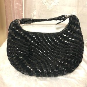Cole Haan Patent Leather and Suede Woven Hobo Bag